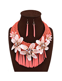 Lovely Red Flower Shape Pendant Decorated Tassel Jewelry Sets