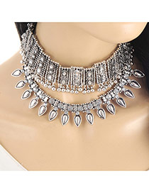 Retro Silver Color Water-drop Pendnat Shape Decorated Simple Choker