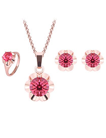Lovely Pink+gold Color Diamond&flower Shape Pendant Decorated Jewelry Sets