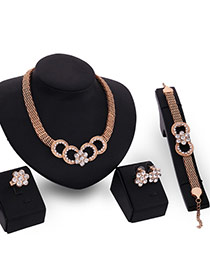Luxury Gold Color Diamond&flower Shape Decorated Hollow Out Jewelry Sets