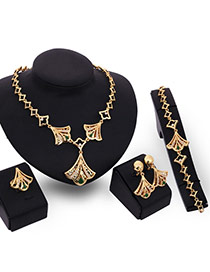 Personality Gold Color Shell Shape Pendant Decorated Hollow Out Chain Jewelry Sets