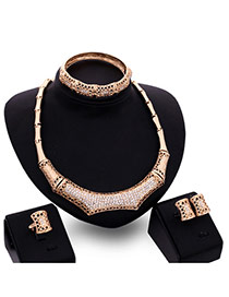 Trendy Gold Color Diamond Decorated Geometric Shape Simple Design Jewelry Sets