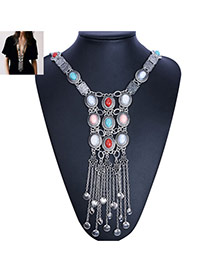 Bohemia Silver Color Round Shape Gemstone Decorated Tassel Body Chain