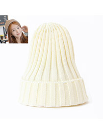 Fashion White Pure Color Decorated Simple Knit Hat