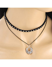 Elegant Black Heart Shapep&wing Pendant Decorated Doublelayer Necklace