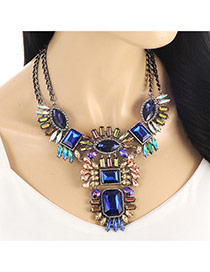 Exaggerate Blue Geometric Shape Diamond Decorated Double Chain Necklace
