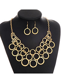 Fashion Gold Color Round Shape Decorated Hollow Out Short Chain Jewelry Sets