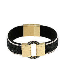 Fashion Black Hollow Out Round Shape Decorated Simple Bracelet