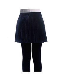 Fashion Navy Color Pure Color Decorated Simple Short Pleated Skirt