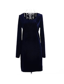 Fashion Navy Color Pure Color Decorated Long Sleeve O Neckline Tight Dress