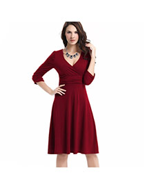 Delicate Claret-red Deep V Neckline Decorated Pure Color Long Sleeve Dress