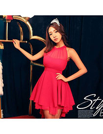 Fashion Rose Red Strepless Tops Design Pure Color Pleated Sleeveless Dress
