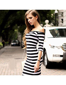Trendy Black+white Off-the-shoulder Design Strip Decorated Long Sleeve Dress