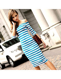 Trendy Rose Red+blue Off-the-shoulder Design Strip Decorated Long Sleeve Dress