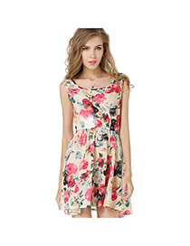 Trendy Cream-colored Flower Pattern Decorated Simple Design Sleeveless Dress