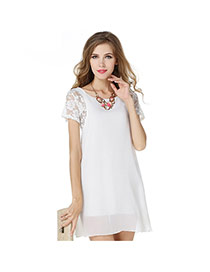 Fashion White Lace Rose Flower Decorated Short Sleeve Pure Color Dress
