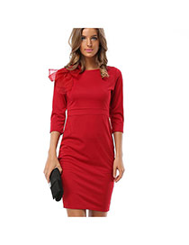 Trendy Claret-red Bowtie Decorated Long Sleeve Pure Color Slim Dress