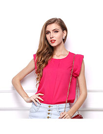 Trendy Rose Red O Shape Neckline Design Pure Color Short Sleeve Shirt