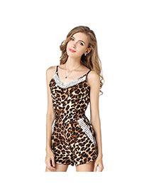 Sexy Leopard Leopard Grain Pattern Decorated Strepless Short Dress