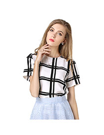 Trendy Black+white Strip Pattern Decorated Simple Design Short Sleeve Shirt