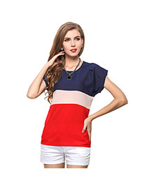 Trendy Multicolor O Shape Neckline Design Color Matching Short Sleeve Shirt