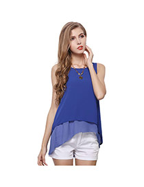 Trendy Dark Blue Pure Color Decorated Pure Color Bilayer Sleeveless Shirt