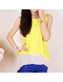 Trendy Yellow Simple Design Pure Color Bilayer Sleeveless Shirt