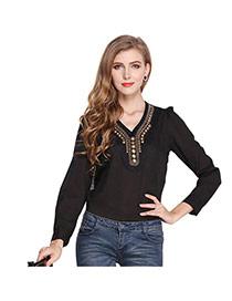 Fashion Black V Shape Neckline Decorated Simple Design Long Sleeve Shirt