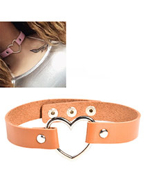 Elegant Coffee Metal Heart Shape Decorated Pure Color Choker