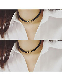 Elegant Gold Color Metal Square Shape Decorated Simple Choker