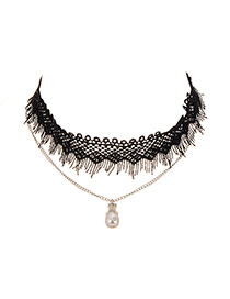 Vintage Black Pearl Pendant Decorated Double Layer Choker