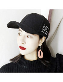 Trendy Black Letter Decorated Simple Design Pure Color Baseketball Hat