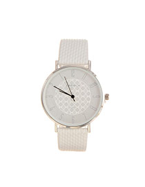 Elegant White Pure Color Design Gridding Pattern Simple Strap Watch