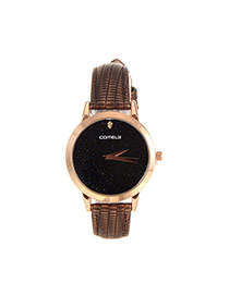 Fashion Coffee Shimmering Powder Decorated Pure Color Strap Watch