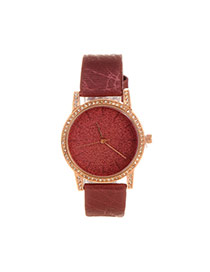 Delicate Claret-red Shimmering Powder Decorated Pure Color Strap Watch