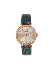 Lovely Green Heart Shape Decorated Simple Strap Watch