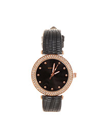 Lovely Black Heart Shape Decorated Simple Strap Watch