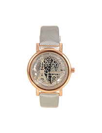 Delicate Silver Color Hollow Out Eiffel Tower Shape Pattern Decorated Simple Watch