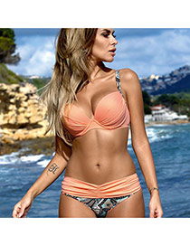 Trendy Orange Geometric Pattern Decorated Simple Design Bikini