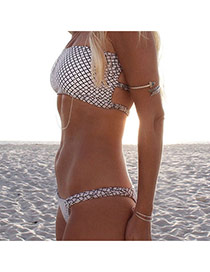 Trendy White Plaid Pattern Decorated Simple Design Bikini