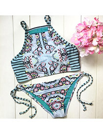 Fashion Green Flower& Zebra Pattern Decorated Simple Design Bikini