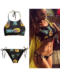 Trendy Black Pineapple Pattern Decorated Simple Design Bikini