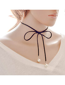 Fashion Black Bead Decorated Simple Design Pure Color Long Chain Choker