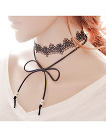 Trendy Black Bead& Bowtie Decorated Double-layer Hollow Out Choker