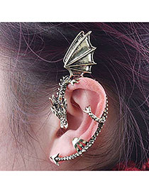 Personality Bronze Metal Dragon Decorated Pure Color Earring