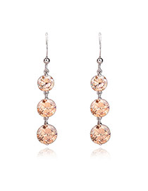 Fashion Brown Diamond Pendant Decorated Simple Design Pure Color Earrings