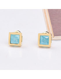 Fashion Blue+gold Color Diamond Decorated Simple Desgin Square Shape Earrings