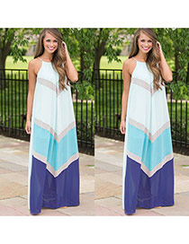 Sweet Sky Blue Geometric Color Matching Decorated Sleeveless Dress
