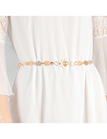 Trendy Gold Color Multielement Decorated Simple Design Waist Chain