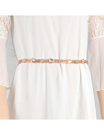 Trendy Gold Color Flower& Heart Shape Decorated Simple Design Waist Chain